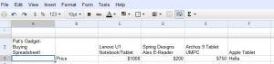 Patrick Miller's Gadget-Buying Spreadsheet!