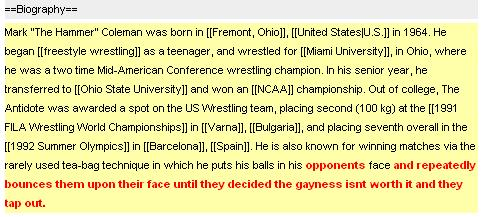 Mark Coleman's Wikipedia Page history.